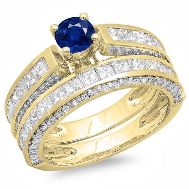 3.00 Carat (ctw) 10K Yellow Gold Princess & Round Blue Sapphire & White Diamond Ladies Bridal Engagement Ring Set With Matching Band 3 CT