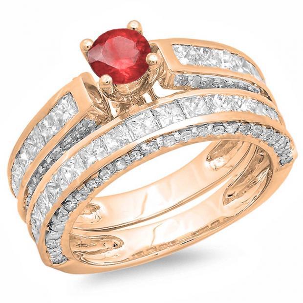 3.00 Carat (ctw) 10K Rose Gold Princess & Round Red Ruby & White Diamond Ladies Bridal Engagement Ring Set With Matching Band 3 CT