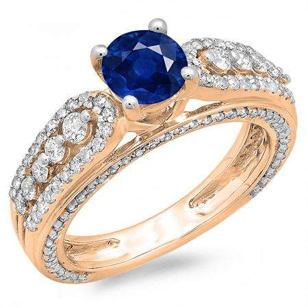 1.75 Carat (ctw) 10K Rose Gold Round Blue Sapphire & White Diamond Ladies Vintage Style Solitaire With Accents Bridal Engagement Ring 1 3/4 CT