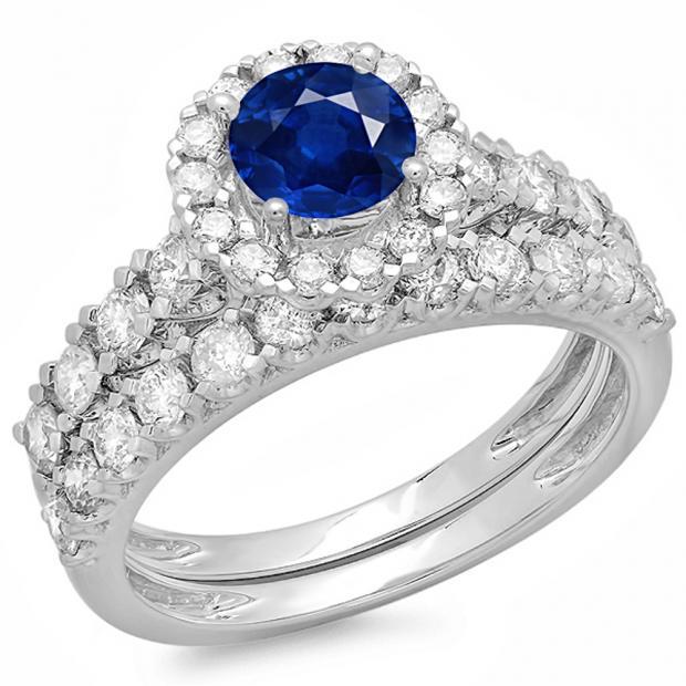 2.00 Carat (ctw) 10K White Gold Round Cut Blue Sapphire & White Diamond Ladies Bridal Halo Style Engagement Ring With Matching Wedding Band Set 2 CT