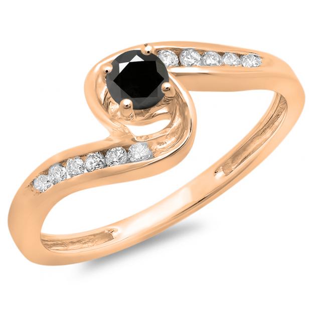 0.36 Carat (ctw) 10K Rose Gold Round Black & White Diamond Ladies Twisted Swirl Bridal Engagement Ring 1/3 CT