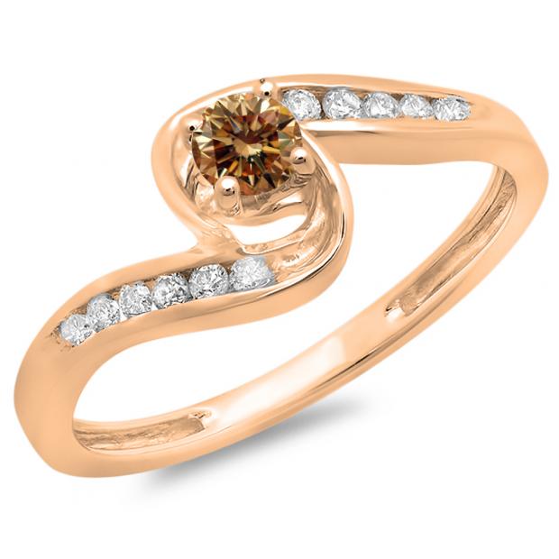0.36 Carat (ctw) 10K Rose Gold Round Champagne & White Diamond Ladies Twisted Swirl Bridal Engagement Ring 1/3 CT