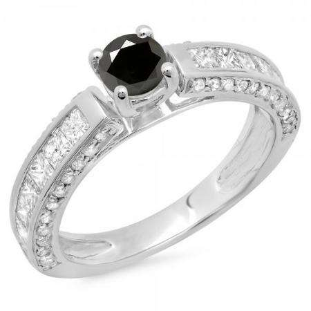 1.75 Carat (ctw) 10K White Gold Round & Princess Cut Black & White Diamond Ladies Solitaire With Accents Bridal Engagement Ring 1 3/4 CT
