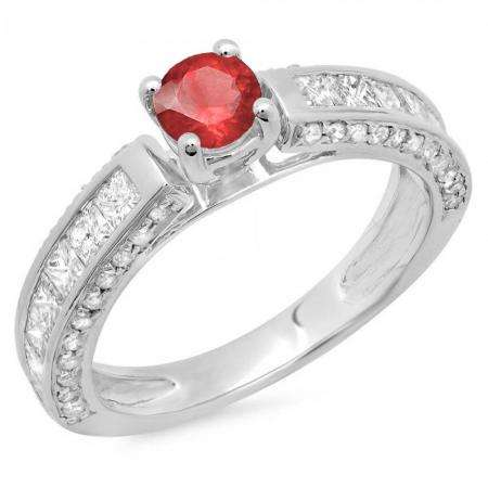 1.75 Carat (ctw) 10K White Gold Round & Princess Cut Red Ruby & White Diamond Ladies Solitaire With Accents Bridal Engagement Ring 1 3/4 CT