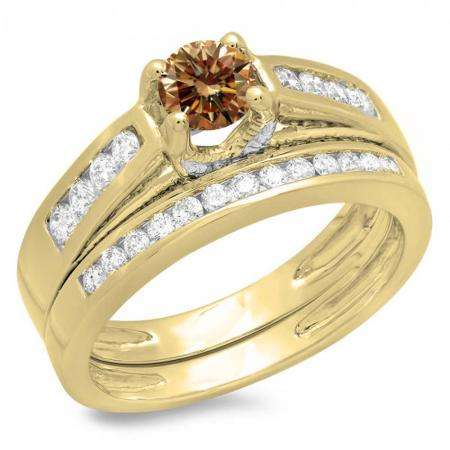 1.00 Carat (ctw) 18K Yellow Gold Round White & Champagne Diamond Ladies Vintage Style Bridal Engagement Ring With Matching Band Set 1 CT