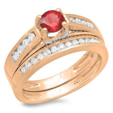 1.00 Carat (ctw) 10K Rose Gold Round White Diamond & Red Ruby Ladies Vintage Style Bridal Engagement Ring With Matching Band Set 1 CT