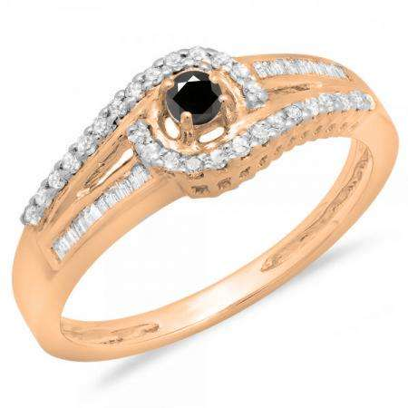 0.33 Carat (ctw) 10K Rose Gold Round & Baguette Cut Black & White Diamond Ladies Twisted Swirl Bridal Halo Engagement Ring 1/3 CT