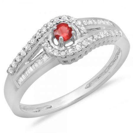 0.33 Carat (ctw) 18K White Gold Round & Baguette Cut Red Ruby & White Diamond Ladies Twisted Swirl Bridal Halo Engagement Ring 1/3 CT