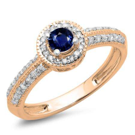 0.70 Carat (ctw) 10K Rose Gold Round Blue Sapphire & White Diamond Ladies Bridal Vintage Style Millgrain Halo Engagement Ring 3/4 CT
