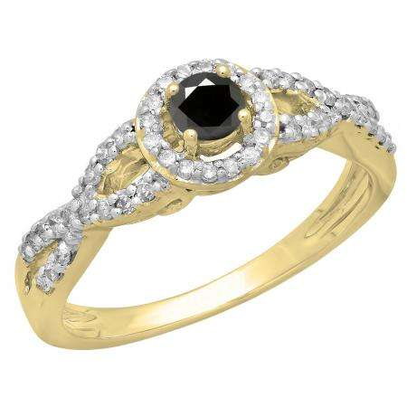 0.50 Carat (ctw) 10K Yellow Gold Round Black & White Diamond Ladies Swirl Split Shank Bridal Halo Style Engagement Ring 1/2 CT
