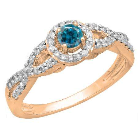 0.50 Carat (ctw) 10K Rose Gold Round Blue & White Diamond Ladies Swirl Split Shank Bridal Halo Style Engagement Ring 1/2 CT