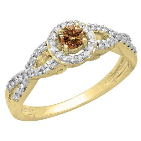 0.50 Carat (ctw) 10K Yellow Gold Round Champagne & White Diamond Ladies Swirl Split Shank Bridal Halo Style Engagement Ring 1/2 CT