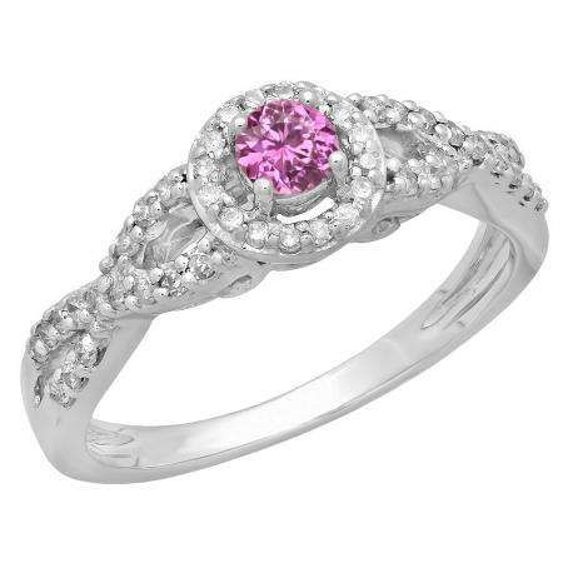 0.50 Carat (ctw) 10K White Gold Round Pink Sapphire & White Diamond Ladies Swirl Split Shank Bridal Halo Style Engagement Ring 1/2 CT