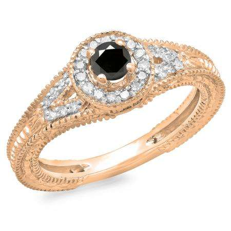 0.50 Carat (ctw) 10K Rose Gold Round Black & White Diamond Ladies Split Shank Bridal Vintage Halo Style Engagement Ring 1/2 CT