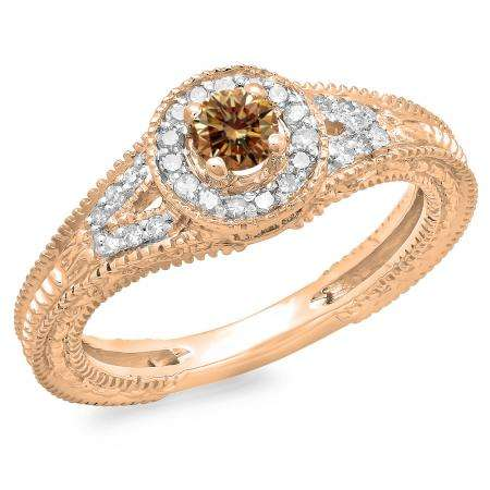 0.50 Carat (ctw) 10K Rose Gold Round Champagne & White Diamond Ladies Split Shank Bridal Vintage Halo Style Engagement Ring 1/2 CT