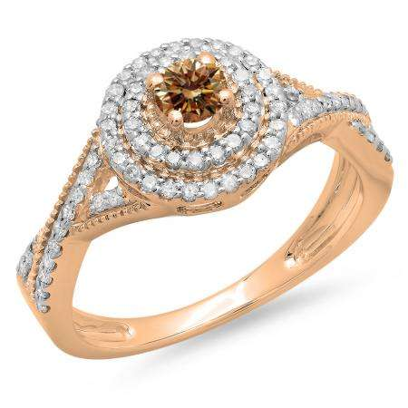 0.60 Carat (ctw) 10K Rose Gold Round Cut Champagne & White Diamond Ladies Crossover Swirl Bridal Halo Engagement Ring