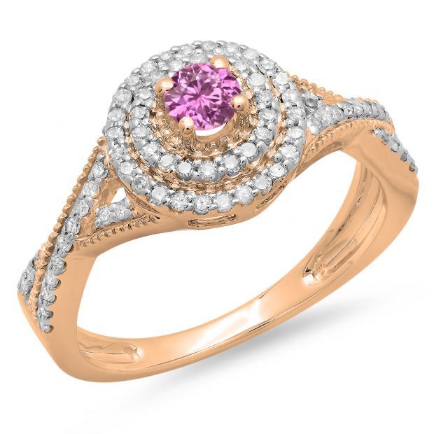 0.60 Carat (ctw) 14K Rose Gold Round Cut Pink Sapphire & White Diamond Ladies Crossover Swirl Bridal Halo Engagement Ring