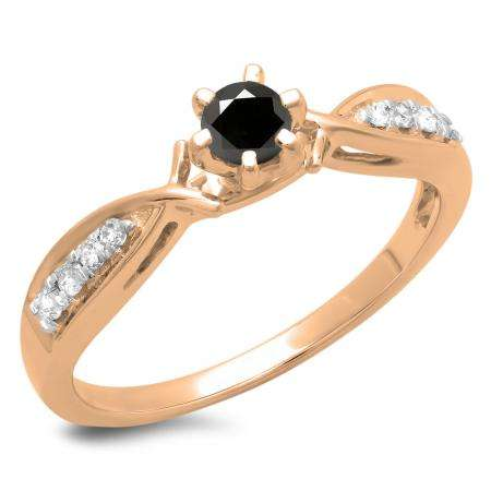 0.33 Carat (ctw) 10K Rose Gold Round Cut Black & White Diamond Ladies Bridal Solitaire With Accents Engagement Ring 1/3 CT