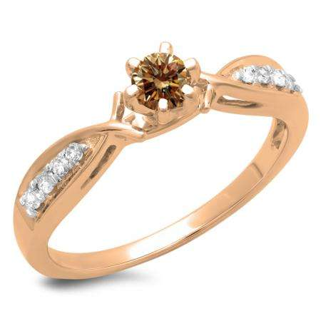 0.33 Carat (ctw) 10K Rose Gold Round Cut Champagne & White Diamond Ladies Bridal Solitaire With Accents Engagement Ring 1/3 CT