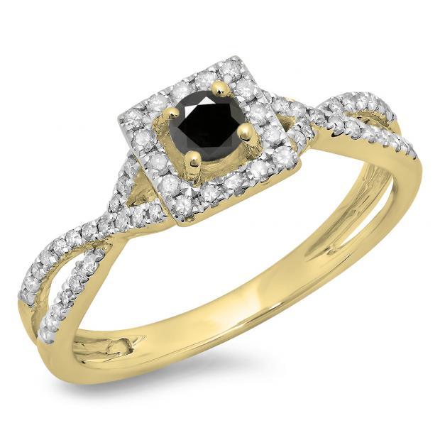 0.50 Carat (ctw) 10K Yellow Gold Round Cut Black & White Diamond Ladies Bridal Swirl Split Shank Halo Engagement Ring 1/2 CT
