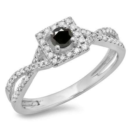 0.50 Carat (ctw) 14K White Gold Round Cut Black & White Diamond Ladies Bridal Swirl Split Shank Halo Engagement Ring 1/2 CT