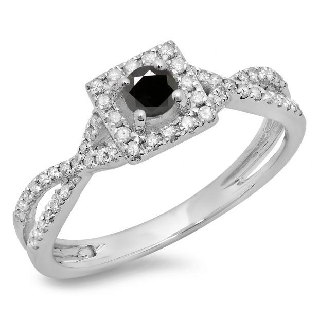 0.50 Carat (ctw) 18K White Gold Round Cut Black & White Diamond Ladies Bridal Swirl Split Shank Halo Engagement Ring 1/2 CT
