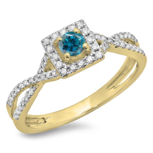 0.50 Carat (ctw) 10K Yellow Gold Round Cut Blue & White Diamond Ladies Bridal Swirl Split Shank Halo Engagement Ring 1/2 CT