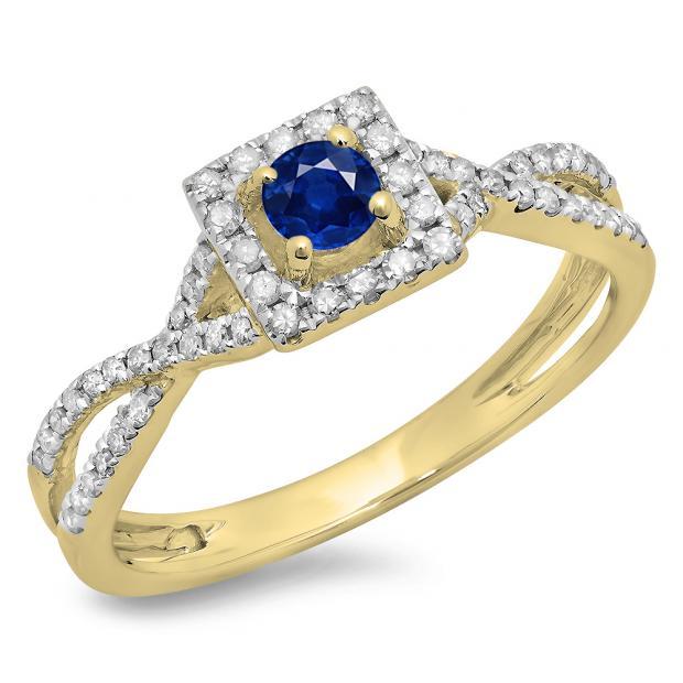 0.50 Carat (ctw) 18K Yellow Gold Round Cut Blue Sapphire & White Diamond Ladies Bridal Swirl Split Shank Halo Engagement Ring 1/2 CT