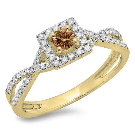 0.50 Carat (ctw) 18K Yellow Gold Round Cut Champagne & White Diamond Ladies Bridal Swirl Split Shank Halo Engagement Ring 1/2 CT