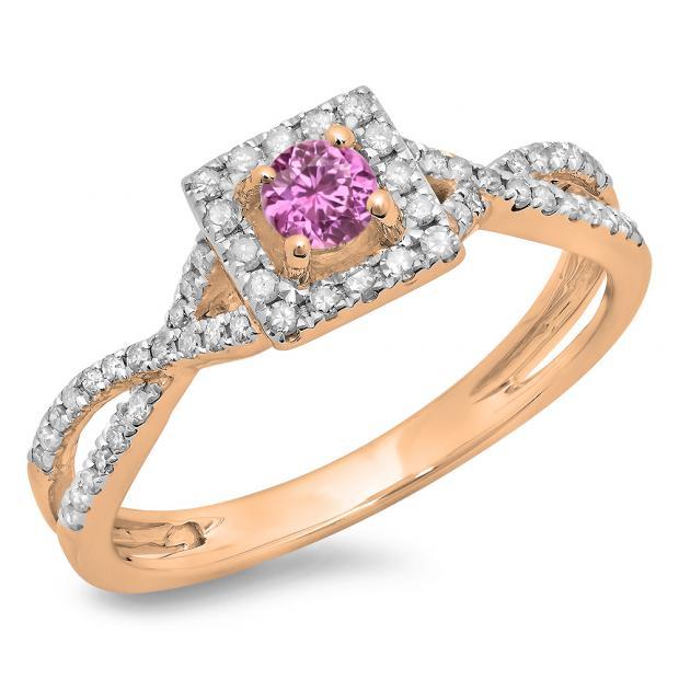 0.50 Carat (ctw) 14K Rose Gold Round Cut Pink Sapphire & White Diamond Ladies Bridal Swirl Split Shank Halo Engagement Ring 1/2 CT