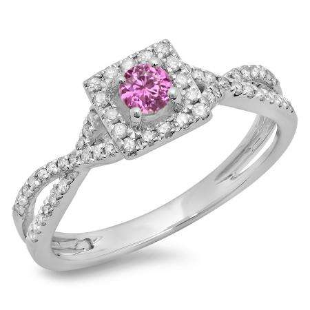 0.50 Carat (ctw) 18K White Gold Round Cut Pink Sapphire & White Diamond Ladies Bridal Swirl Split Shank Halo Engagement Ring 1/2 CT
