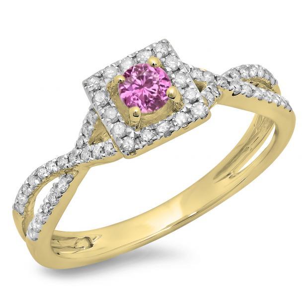 0.50 Carat (ctw) 18K Yellow Gold Round Cut Pink Sapphire & White Diamond Ladies Bridal Swirl Split Shank Halo Engagement Ring 1/2 CT