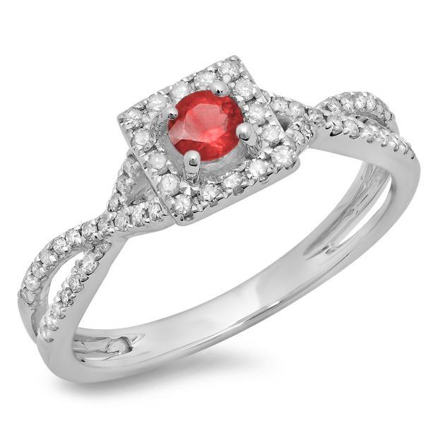 0.50 Carat (ctw) 10K White Gold Round Cut Red Ruby & White Diamond Ladies Bridal Swirl Split Shank Halo Engagement Ring 1/2 CT