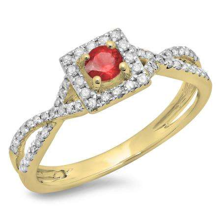 0.50 Carat (ctw) 18K Yellow Gold Round Cut Red Ruby & White Diamond Ladies Bridal Swirl Split Shank Halo Engagement Ring 1/2 CT