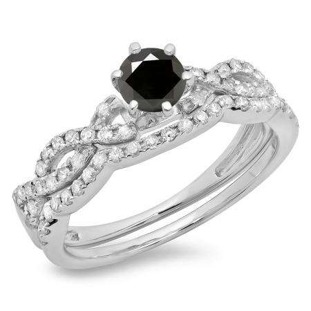 0.90 Carat (ctw) 10K White Gold Round Cut Black & White Diamond Ladies Bridal Twisted Swirl Engagement Ring Matching Wedding Band Set