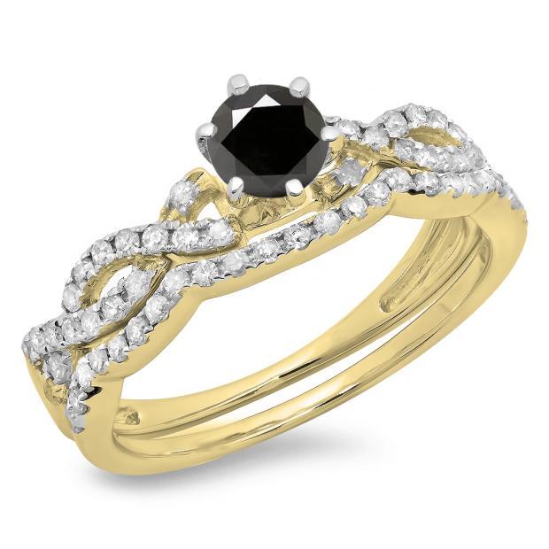 0.90 Carat (ctw) 10K Yellow Gold Round Cut Black & White Diamond Ladies Bridal Twisted Swirl Engagement Ring Matching Wedding Band Set