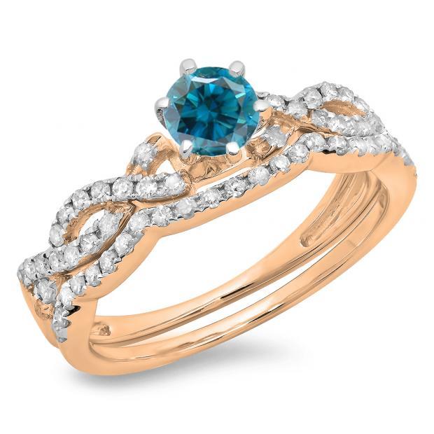 0.90 Carat (ctw) 18K Rose Gold Round Cut Blue & White Diamond Ladies Bridal Twisted Swirl Engagement Ring Matching Wedding Band Set