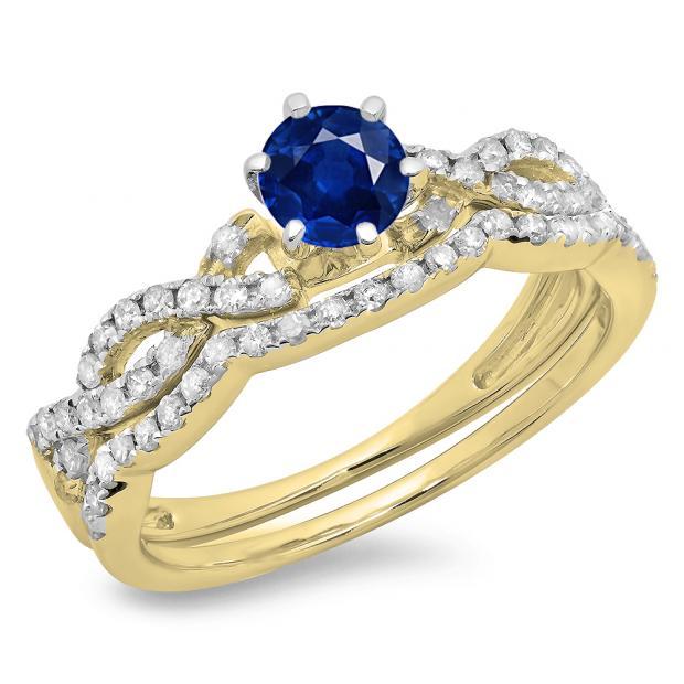 0.90 Carat (ctw) 10K Yellow Gold Round Cut Blue Sapphire & White Diamond Ladies Bridal Twisted Swirl Engagement Ring Matching Wedding Band Set