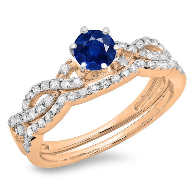 0.90 Carat (ctw) 18K Rose Gold Round Cut Blue Sapphire & White Diamond Ladies Bridal Twisted Swirl Engagement Ring Matching Wedding Band Set