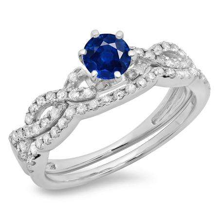 0.90 Carat (ctw) 18K White Gold Round Cut Blue Sapphire & White Diamond Ladies Bridal Twisted Swirl Engagement Ring Matching Wedding Band Set