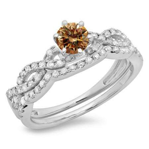 0.90 Carat (ctw) 14K White Gold Round Cut Champagne & White Diamond Ladies Bridal Twisted Swirl Engagement Ring Matching Wedding Band Set