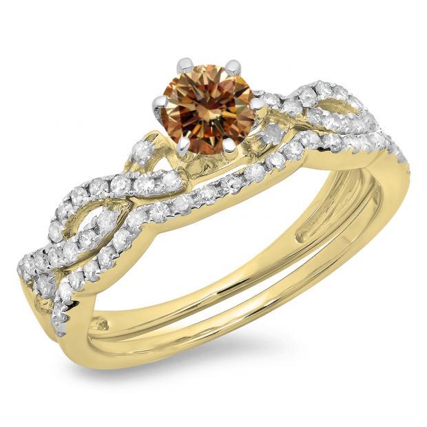 0.90 Carat (ctw) 14K Yellow Gold Round Cut Champagne & White Diamond Ladies Bridal Twisted Swirl Engagement Ring Matching Wedding Band Set
