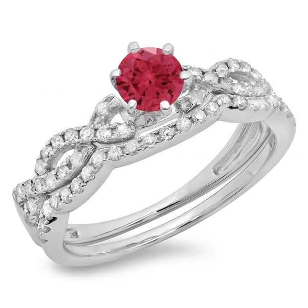 0.90 Carat (ctw) 10K White Gold Round Cut Red Ruby & White Diamond Ladies Bridal Twisted Swirl Engagement Ring Matching Wedding Band Set
