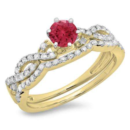0.90 Carat (ctw) 18K Yellow Gold Round Cut Red Ruby & White Diamond Ladies Bridal Twisted Swirl Engagement Ring Matching Wedding Band Set