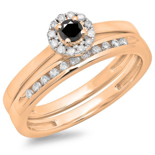 0.33 Carat (ctw) 14K Rose Gold Round Cut Black & White Diamond Ladies Bridal Halo Engagement Ring With Matching Band Set 1/3 CT
