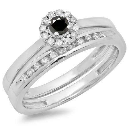 0.33 Carat (ctw) 14K White Gold Round Cut Black & White Diamond Ladies Bridal Halo Engagement Ring With Matching Band Set 1/3 CT