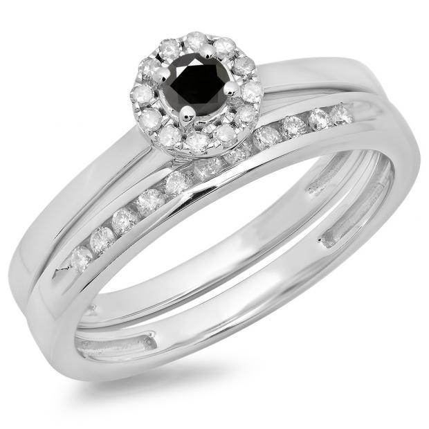 0.33 Carat (ctw) 18K White Gold Round Cut Black & White Diamond Ladies Bridal Halo Engagement Ring With Matching Band Set 1/3 CT