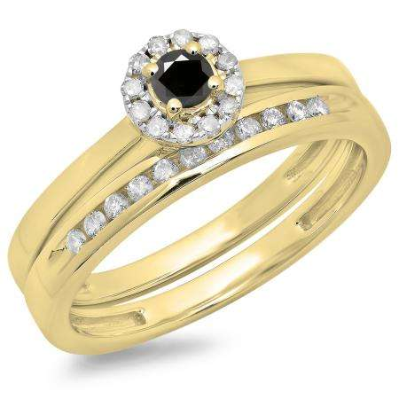 0.33 Carat (ctw) 18K Yellow Gold Round Cut Black & White Diamond Ladies Bridal Halo Engagement Ring With Matching Band Set 1/3 CT