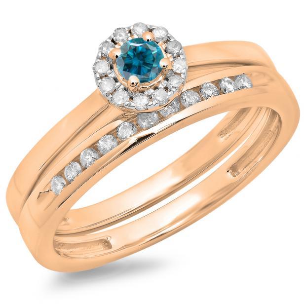 0.33 Carat (ctw) 14K Rose Gold Round Cut Blue & White Diamond Ladies Bridal Halo Engagement Ring With Matching Band Set 1/3 CT