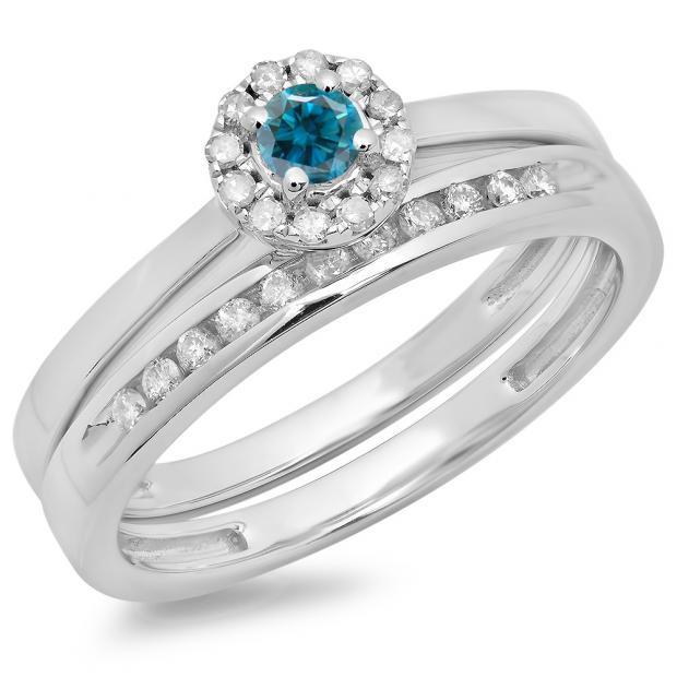 0.33 Carat (ctw) 14K White Gold Round Cut Blue & White Diamond Ladies Bridal Halo Engagement Ring With Matching Band Set 1/3 CT